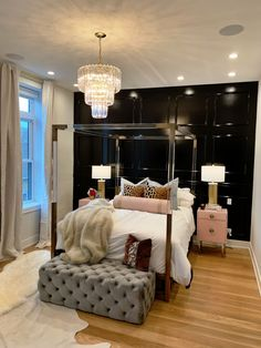 Glam Bedroom, Room Ideas Bedroom, Home Bedroom, Bedroom Decor, Parisian Bedroom, Feminine Bedroom, Bedroom Black, Design Bedroom, Master Bedroom