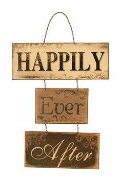 """Happily Ever After"" Sign by Iron Trade Imports on Hanging Signs, Wall Signs, Vinyl Signs, Wedding Anniversary Gifts, Wedding Gifts, Wedding Ideas, Rustic Wedding, Wedding Stuff, Wood Crafts"