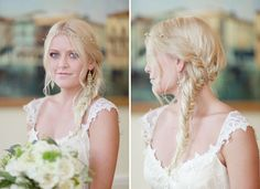 cute fishtail braid works perfectly for this boho ceremony