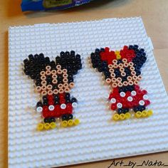 Mickey and Minnie Mouse  hama beads by art_by_nata_