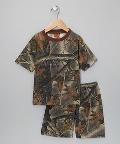 Take a look at this Trail Crest Camouflage Knit Tee & Shorts - Toddler & Boys on zulily today!