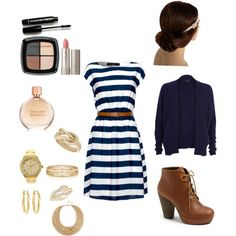 Stripey dress... <3 these shoes
