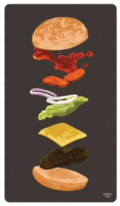 Animated burger.  http://enjoythebits.com/post/80269327091/sandwiched-more-made-by-moaniecat-the#.Uy9Gcq1dWMg