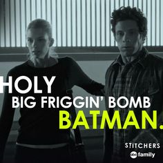 """Emma Ishta as Kirsten and Kyle Harris as Cameron in Stitchers. """"Holy big friggin' bomb Batman."""" Well said. (I do NOT own this picture- all credit to whoever does)"""