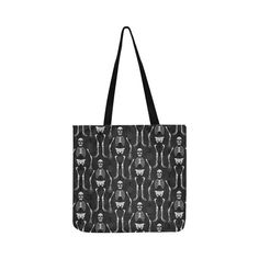 Reversible Black & Orange Skeletons Reusable Shopping Bag Model 1660 (Two sides) Reusable Shopping Bags, Skeletons, Halloween Themes, Black Backgrounds, Clutches, Models, Tote Bag, Black And White, Orange