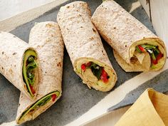 Hummus and Grilled Vegetable Wrap : Cook zucchini on the grill or in a grill pan until tender and layer it with raw peppers, spinach, store-bought hummus and herbs for a nutrient-packed, packable lunch.