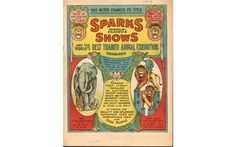 "Sparks Circus poster featuring the ""best trained animal exhibition."""