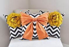 Items similar to Trio Decorative Pillow Set - Mustard Yellow Corner Dahlias on Black and White Chevron and Orange Bow on Black Chevron Pillow on Etsy Bow Pillows, Grey Pillows, Cute Pillows, Nursery Wall Decor, Pillow Set, Fabric Art, Pillow Design, Decorative Pillows, Bows