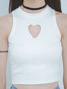 White Heart Cut Out Front Sleeveless Tight Crop Top | Choies