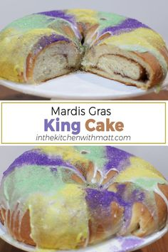 This Mardis Cras King Cake is so easy to make and perfect for the celebration. Make sure to put the little plastic baby inside! After baking it of course. #kingcake #mardisgras #cake Best Dessert Recipes, Easy Desserts, Homemade Cheesecake, Baking Recipes, Bread Recipes, My Dessert, Homemade Cakes, Cakes And More, Chocolate Recipes