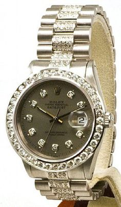 Rolex Mens Datejust Steel Slate Diamond Dial/Big Diamond Bezel/Diamond | Limited Watches | Buy New & Used Rolex Watches