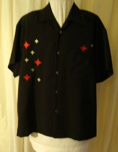 Mouse over image to zoom    Have one to sell? Sell it yourself  Retro 50's Style Black Red Stars Johnny Suede Rockabilly Lounge Shirt Mens XL