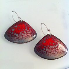 Fan Shaped Red Hot Blend Enamel earrings with sterling silver hooks.  All pieces made by hand. on Etsy, $62.00