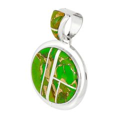 Mojave Green Turquoise Pendant Sterling Silver Jewelry