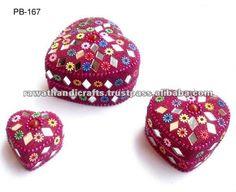 Glitter Mirrored Trinket Jewellery Box Indian Pill Box- Pink Heart