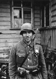 A German soldier on the Easter Front. No more confidence in the future of the war.  Hitler's army had become a poor army in 1944-1945.