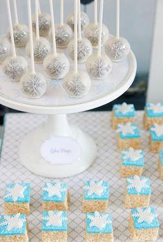Winter wonderland party - cake pops and rice krispie treats