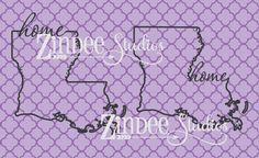 Louisiana home state cut file vector for monogram with by Zindee