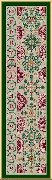 Christmas Quaker Bellpull - Cross Stitch Pattern  by Stickideen von der Wiehenburg
