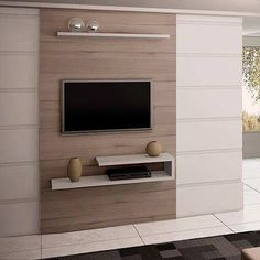 paneles para tv plana - Buscar con Google Tv Rack, Tv In Bedroom, Bedroom Tv Unit Design, Framed Tv, Living Room Tv, Floating Tv Unit, Wooden Floating Shelves, Floating Shelves Bathroom, Lcd Wall Design