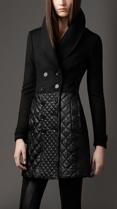 Multi Quilt Leather Skirt Coat | #fashion #burberry #coat