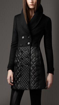 Multi Quilt Leather Skirt Coat | Burberry