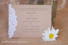Custom for Lindsay S - Vintage Lace Doily Wedding Invitations with Typewriter Font - Save the Date - Baby or Bridal Shower. $150.00, via Etsy.