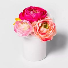 X Artificial Ranunculus In Ceramic Pot Pink/White - Threshold™ : Target Ranunculus Centerpiece, Ranunculus Wedding, Ranunculus Bouquet, White Ranunculus, Artificial Cactus, Artificial Flowers And Plants, Faux Flowers, Pink Flowers, White Ceramic Planter