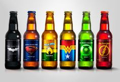Super Hero Beers - I want a beer from the Justice League Brewery! Justice League Superheroes, Dc Comics Superheroes, Bottle Packaging, Bottle Labels, Beer Bottles, Beer Names, Tequila, Dark Beer, Alcohol