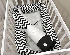 Baby crib bumper ZEBRA Pillow Handmade, Baby Bed Bumper, Baby Shower Present Black&White