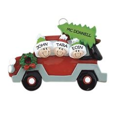 Car Family Of 3 Personalized Holiday Ornament Family Christmas Ornaments, Family Ornament, Christmas Car, Christmas Traditions, Christmas Decorations, Personalized Ornaments, Personalized Christmas Ornaments, Polymer Clay Christmas, Shop