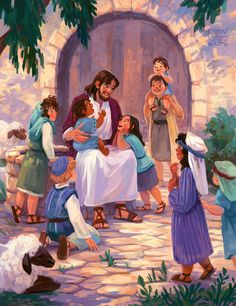 """""""Jesus said, """"Let the little children come to me, and do not hinder them, for the kingdom of heaven belongs to such as these. Catholic Art, Religious Art, Bible Illustrations, Illustration Art, Jesus Smiling, Jesus Cartoon, Pictures Of Jesus Christ, Jesus Christ Lds, Jesus Artwork"""