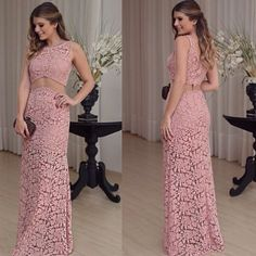 Two Pieces Prom Dress,Lace Prom Dress,Fashion Prom Dress,Sexy Party Dress, New Style Evening Dress Fitted Prom Dresses, Elegant Prom Dresses, Bridal Dresses, Evening Dresses, Party Frocks, Sexy Party Dress, Dress Patterns, Lace Dress, Pink Dress