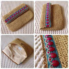 My specialty for summer clutch 2015 Oriental blue&pink Crochet Clutch Bags, Crochet Purses, Crochet Bags, Love Crochet, Bead Crochet, Diy Crochet, Best Leather Wallet, Diy Wallet, Boho Bags