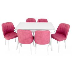 Set masa living Vegas Alba cu scaune roz Vegas, Dining Table, Live, Furniture, Home Decor, Decoration Home, Room Decor, Dinner Table, Home Furnishings