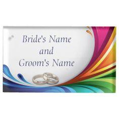 Elegant Swirling Rainbow Splash Table Card Holder   Rainbow Splash & Wedding Rings Matching Wedding Set #lgbtq #gaymarriage #gaywedding