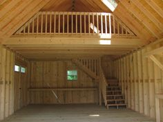 Premier building interior with added loft railing and staircase. Premier building interior with added loft railing and staircase. Premier building interior with added loft railing and staircase. Shed Homes, Cabin Homes, Tiny Homes, Shed Design, Tiny House Design, Stair Design, Garage Design, Loft Railing, Railing Ideas