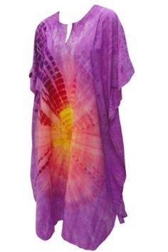 La Leela Purple Tie Dye Printed Plus Size Caftan Kaftan La Leela. $34.99
