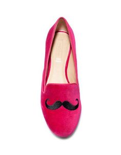 Zara Velvet Slippers with Skull and Moustache!