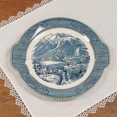 Tab Handled Cake Platter ~ Currier & Ives Blue Transferware ~ The Rocky Mountains ~ Royal China Replacement by FeeneyFinds on Etsy