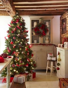 Beautiful christmas decorations. Country farmhouse style.