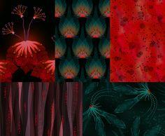 Tropical iridescence inspired collection of 5 patterns. Marja Hämäläinen