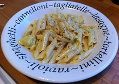 'Penne con Pollo e Zafferano'. Cream, saffron, chicken, chicken stock, parsley, garlic, butter and seasoning.