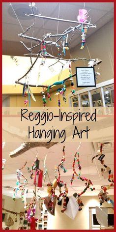 Inspired: Hanging Art Creative ideas for Reggio-Inspired hanging art.Creative ideas for Reggio-Inspired hanging art. Reggio Emilia Classroom, Reggio Inspired Classrooms, Reggio Emilia Preschool, Reggio Art Activities, Therapy Activities, Classroom Setting, Art Classroom, Preschool Classroom, Preschool Art Display