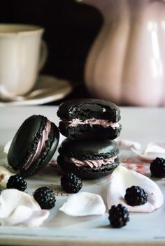 Chocolate macarons with blackberry ganache