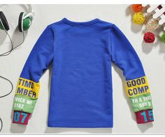 2013 New Trend! Brief Boy's Solid Long Sleeve Cotton Shirt, Color Contrast Letters Stripes Sleeve,Boy's Top,Free Shipping K0186