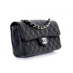 Chanel Black Caviar Small East West Flap Bag