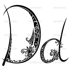 Letter D d in the style of abstract floral pattern on a white ...