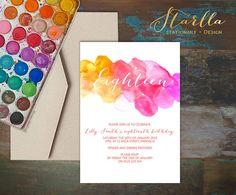 Druckbare digitale einladen, Rosa & orange-Aquarell Einladung zum Kindergeburtstag, handgemalte, 18th, jeden Alters