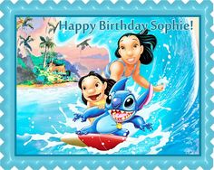 Lilo & Stitch Edible Birthday Cake OR Cupcake Topper – Edible Prints On Cake…